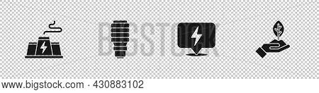 Set Power Station Plant Factory, Led Light Bulb, Lightning Bolt And Plant Hand Icon. Vector