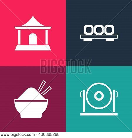Set Pop Art Gong, Rice In Bowl With Chopstick, Sushi Cutting Board And Chinese House Icon. Vector