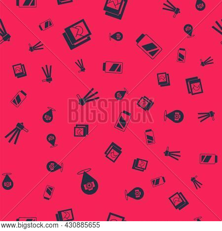Set Photo Camera, Frame, Tripod And Battery For On Seamless Pattern. Vector