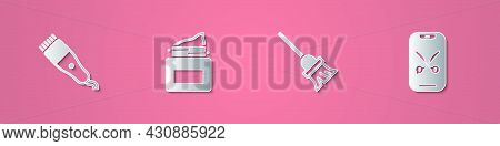 Set Paper Cut Electrical Hair Clipper, Cream Cosmetic Jar, Mop And Barber Online Service Or Platform