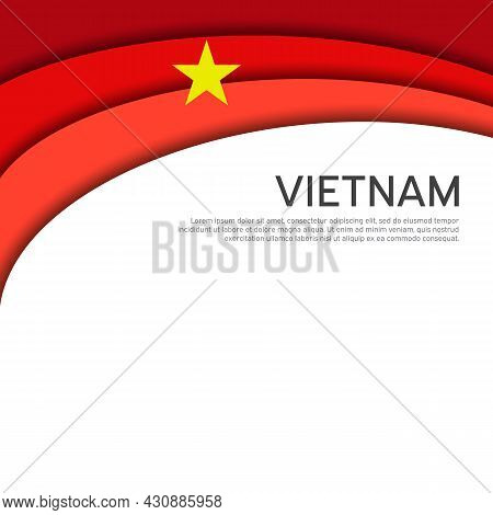 Abstract Waving Vietnam Flag. Paper Cut Style. Creative Background For Design Of Patriotic Vietnames
