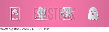 Set Paper Cut Guillotine, Zombie Mask, Chocolate Bar And Ghost Icon. Paper Art Style. Vector