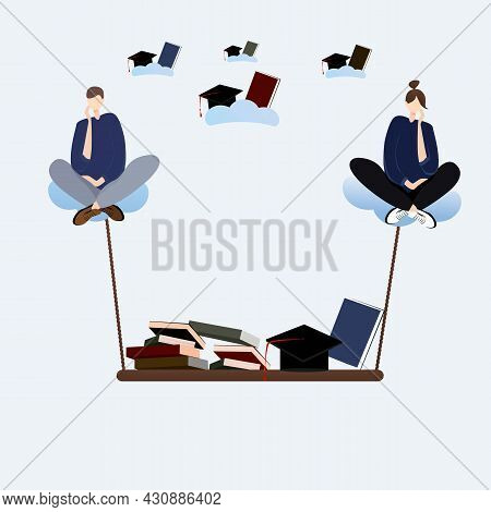 Girl And A Guy Are Sitting Cross-legged On The Clouds At The Bottom Of A Shelf With Books And Bonet.