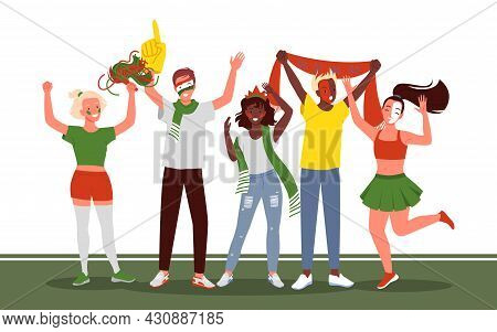 Soccer Or Football People Fans Celebrate Goal On White Background. Cartoon Young Happy Woman Man Fan