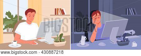 Freelance Man Worker At Day And Night Set, Freelancer Sitting At Computer, Working