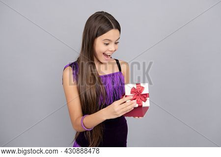 Surprised Kid Open Wrapped Present Box Grey Background, Surprise