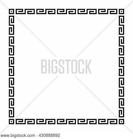 Meander Square With Simple Meander Pattern. Square Frame And Decorative Border, Made Of Angular Spir