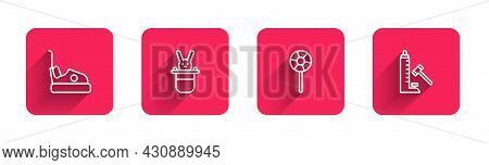 Set Line Bumper Car, Magician Hat And Rabbit, Lollipop And Striker Attraction With Hammer With Long