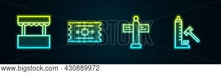 Set Line Ticket Box Office, , Road Traffic Signpost And Striker Attraction With Hammer. Glowing Neon