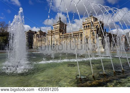 Valladolid, Spain - March 07, 2019: View Of The Fonts Of Zorrilla Square And The Royal Cavalry Acade