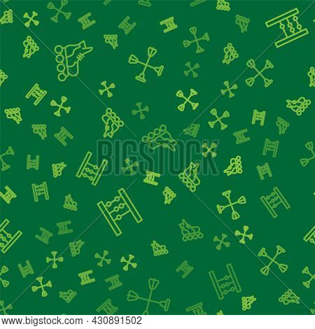 Set Line Roller Skate, Abacus And Arrow With Sucker Tip On Seamless Pattern. Vector