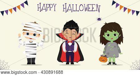 Halloween Party Kids Characters Set. Children In Colorful Halloween Costumes Mummy, Vampire, Zombie