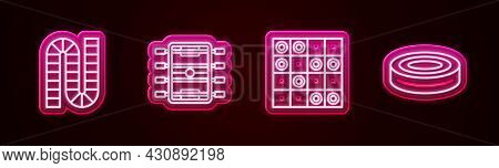 Set Line Board Game, Hockey Table, Of Checkers And Checker Chips. Glowing Neon Icon. Vector