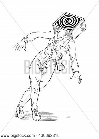 Man With Dizzy, Square Head Tv And Hypnotizing Funnel. Vector Illustration
