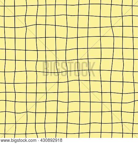 Yellow And Black Grid Seamless Pattern. Simple Minimalist Backdrop. Hand-drawn Line Grid.