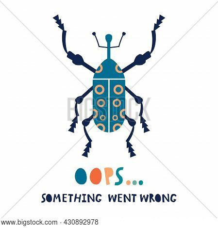 Colorful Beetle Icon And An Error Sign. Oops Something Went Wrong Illustration. Software Error Conce