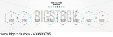 Vector Infographic Design Business Template With Icons And 8 Options Or Steps. Can Be Used For Proce