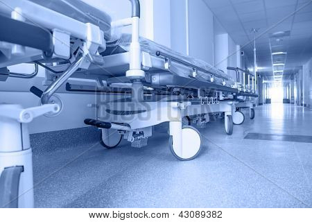 long corridor in hospital with surgical transport. tinted picture