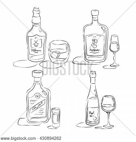 Whiskey, Rum, Liquor, Red Wine. Bottle And Glass In Hand Drawn Style. Restaurant Illustration For Ce