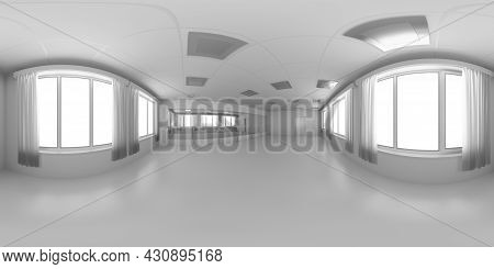 White Empty Training Dance-hall With White Flat Walls, Floor, Ceiling With Lamps And Window With Whi
