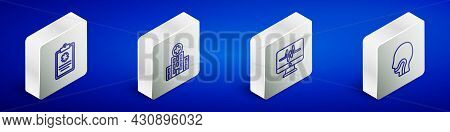 Set Isometric Line Clinical Record, Medical Hospital Building, Monitor With Cardiogram And Sore Thro