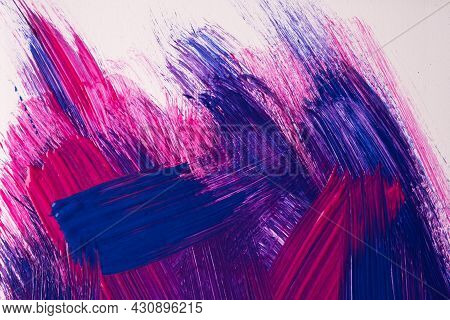 Abstract Art Background Dark Purple And Navy Blue Colors. Watercolor Painting On Canvas With White S
