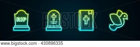 Set Line Tombstone With Rip Written, Grave Tombstone, Holy Bible Book And Dove. Glowing Neon Icon. V