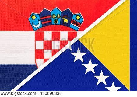 Croatia And Bosnia And Herzegovina, Symbol Of Country. Croatian Vs Bosnian National Flags.