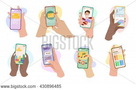 Hands Holding Phones With Mobile Apps Vector Illustrations Set. Female Cartoon Social Media Users Ch