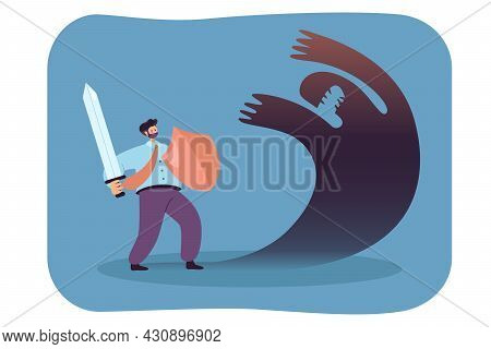 Businessman With Sword And Shield Fighting Against Shadow. Ego Or Anxiety Threatening Man Flat Vecto