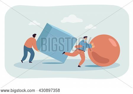 Businessmen Pushing Abstract Figures In Race. Flat Vector Illustration. Men Moving Giant Ball, Cube