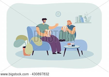 Couple Relaxing On Comfortable Sofa In Front Of Tv. Flat Vector Illustration. Man And Woman Watching