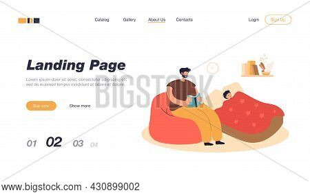 Father Reading Bedtime Story To Son. Child Sleeping, Man Sitting With Book Flat Vector Illustration.