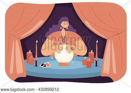 Female Fortuneteller With Crystal Ball In Tent. Seer Or Wizard Predicting Future, Fortune Telling Se