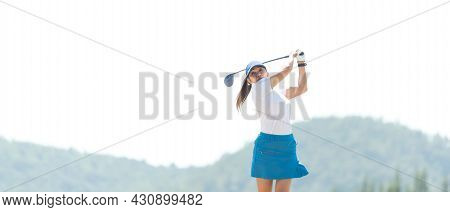 Golfer Sport Course Golf Ball Fairway. People Lifestyle Woman Playing Game Golf And Swing Golf Ball
