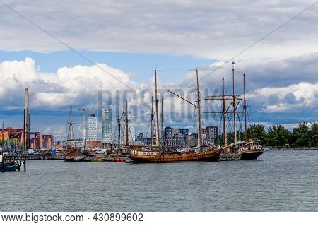Helsinki, Finland: 4 August, 2021: Many Boats Moored In The Harbor Of Helsinki In Southern Finland