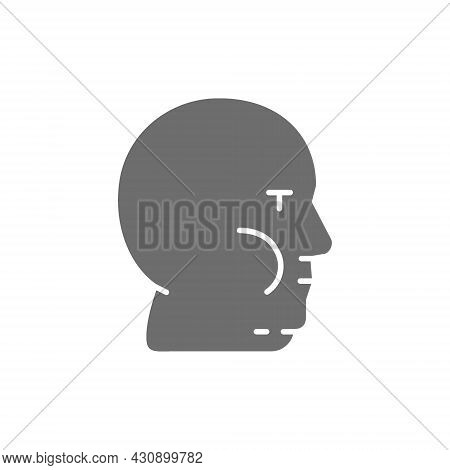 Vector Fat Face, Obesity, Adiposity Grey Icon.
