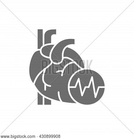 Obesity Heart, Visceral Fat, Heart Attack Grey Icon.