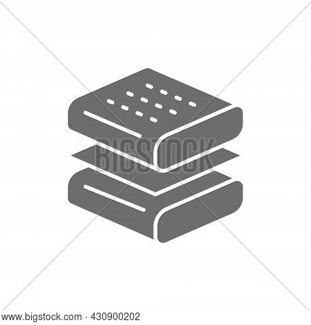 Orthopedic Mattress Layers, Absorbing Material Grey Icon.