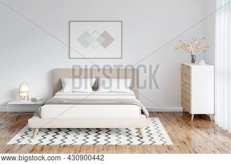A Bright Bedroom With A Horizontal Poster Over The Head Of The Bed, Vases Of Flowers On The Chest Of