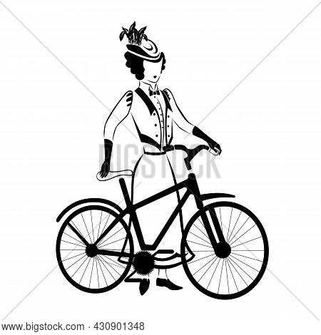 Silhouette Of A Woman With A Bicycle. Woman In Retro Clothes 19th Century. Fashion And Transportatio