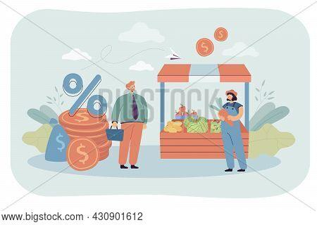 Bank Employee Giving Loan To Shop Owner. Money Lender, Financial Help For Small Business Entrepreneu