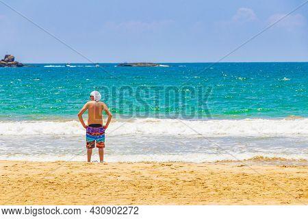 Russian Tourist At Beautiful Sunny Bentota Beach On Sri Lanka.