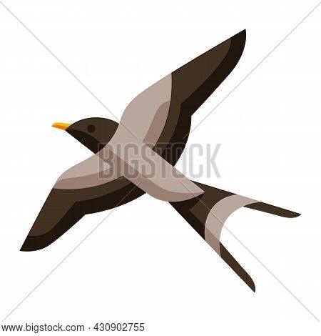 Illustration Of Stylized Swallow. Image Of Wild Bird In Simple Style.