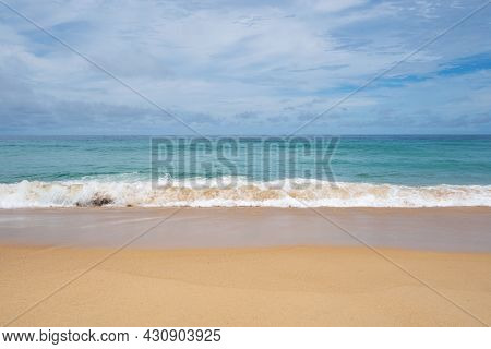 Summer Sandy Beach Amazing Sea Clear Blue Sky And White Clouds Wave Crashing On Sandy Shore Empty Be