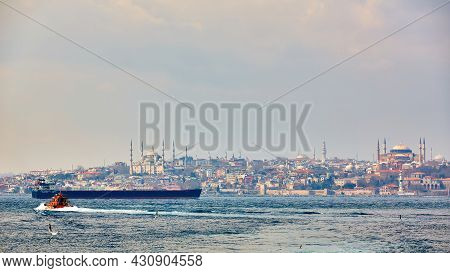 Panorama Of Istanbul With Hagia Sophia, Blue Mosque, Turkey