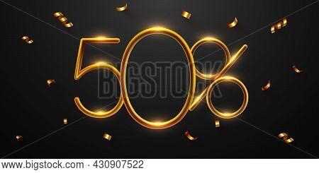 50 Percent Off. Discount Creative Composition Of Golden Balloons. 3d Mega Sale Or Fifty Percent Bonu