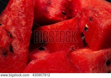 Full Screen Slices Of Sliced Watermelon. Slices Of Juicy Watermelon