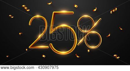 25 Percent Off. Discount Creative Composition Of Golden Balloons. 3d Mega Sale Or Fifty Percent Bonu