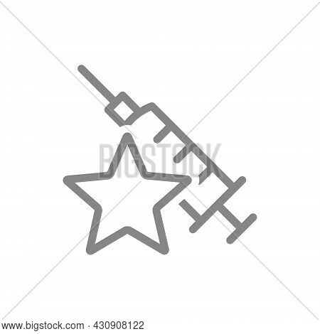 Medical Syringe With Star Line Icon. Vaccination, Immunization, Vaccine Evaluation